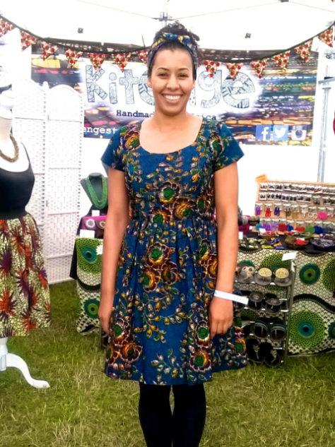 Women's dark blue African print dress customer wearing at Boardmasters Festival in Cornwall UK
