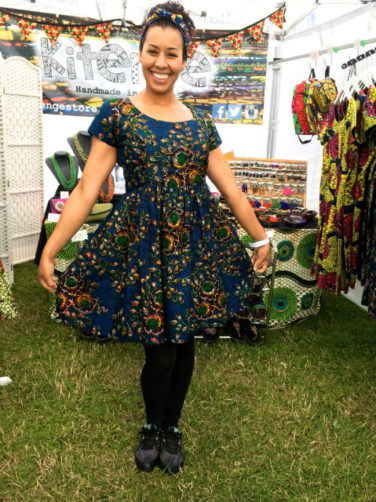 Women's dark blue African print dress fit and flare style worn by customer at Boardmasters Festival UK