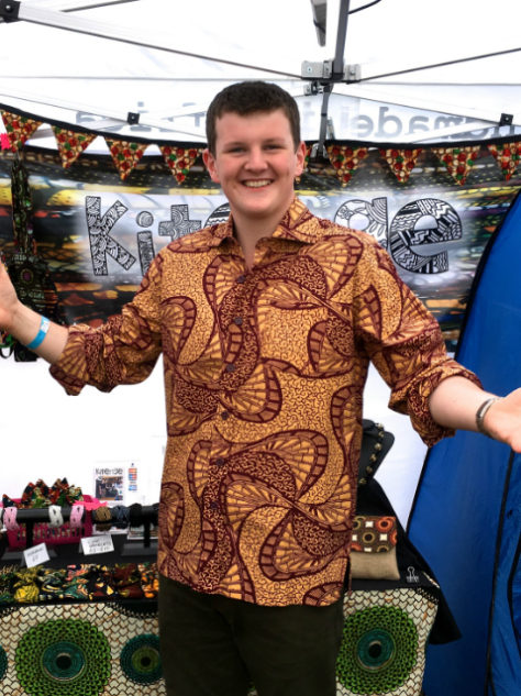 Men's cream African print long sleeve shirt customer wearing at Larmer Tree Festival UK