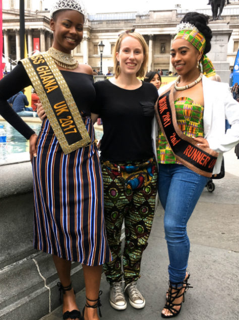 Unisex diamond turquoise African print trousers pants modelled by Kitenge Store founder Sian and Miss Ghana UK at Africa on The Square in Trafalgar Square London