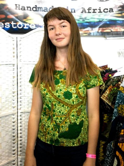 Women's lime green short sleeve African print top customer wearing at Africa Fashion Week London