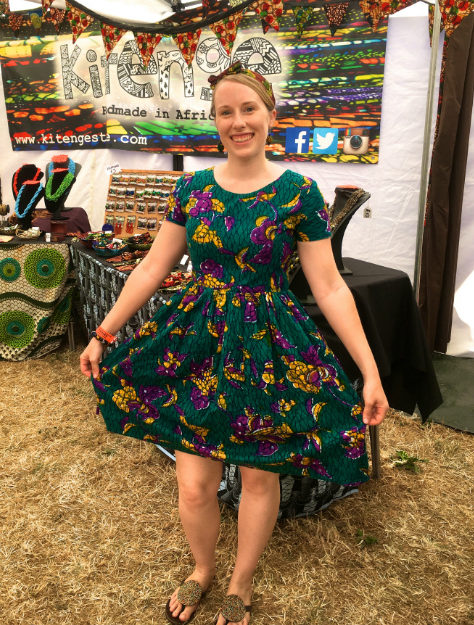 Women's teal African print dress Kitenge Founder Sian wearing at WOMAD Festival in UK