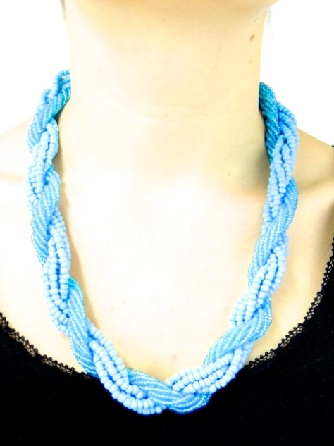 Light Blue Womens African Beaded Necklace