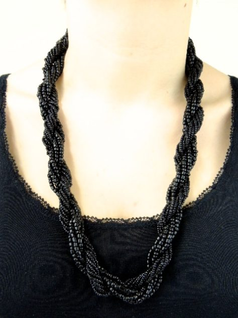 Black Womens African Beaded Necklace
