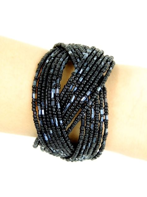 Black pewter Womens African Beaded Bracelet Front View Model Wearing