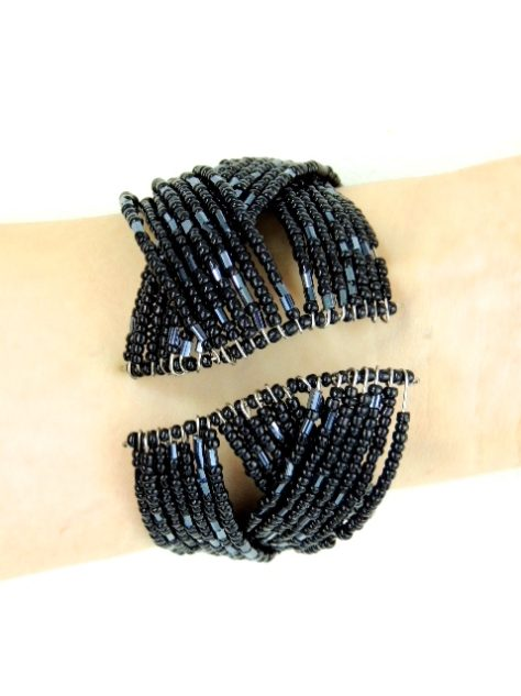 Black pewter Womens African Beaded Bracelet Back View Model Wearing