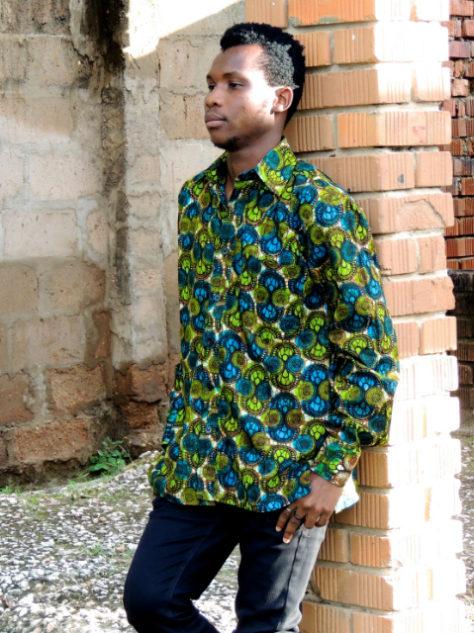 Men's green African style shirt model wearing Tanzania front view