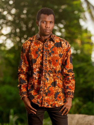Men's Red African Print Long Sleeve Shirt Model Wearing