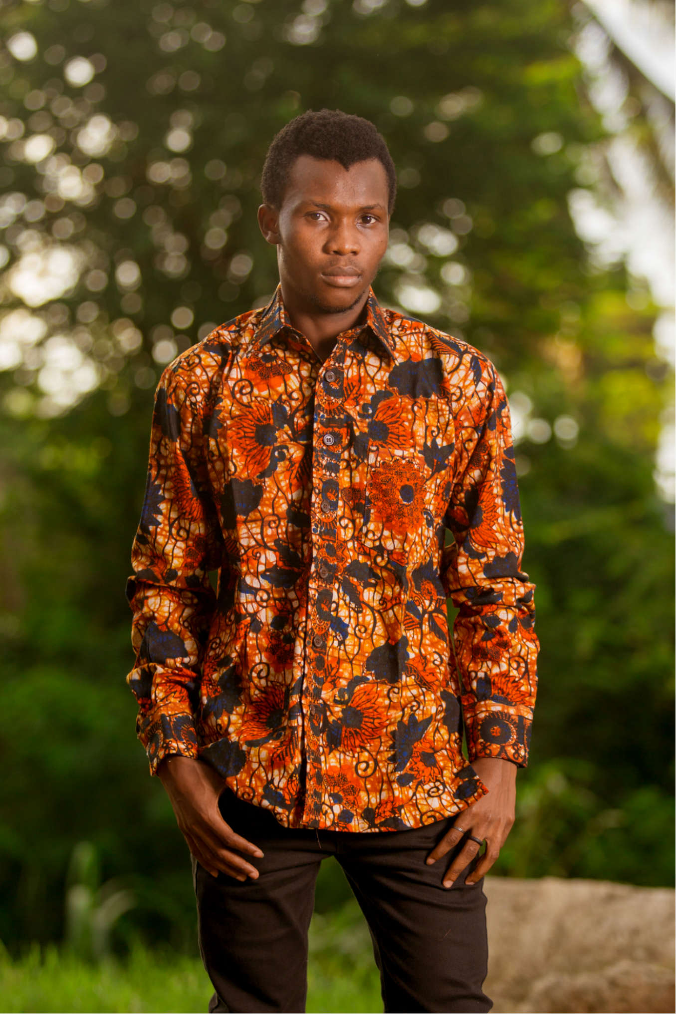 red floral african print long sleeve shirt mens african clothing