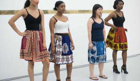 Models wearing African print kanga skirts by Kitenge at the Lubaina Himid exhibition in Bristol UK