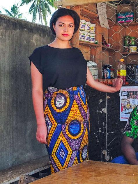 Amber Womens African Print Pencil Skirt Model Wearing