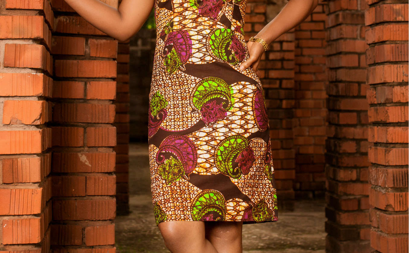 Women's Purple African Print Pencil Dress Model Wearing in Tanzania