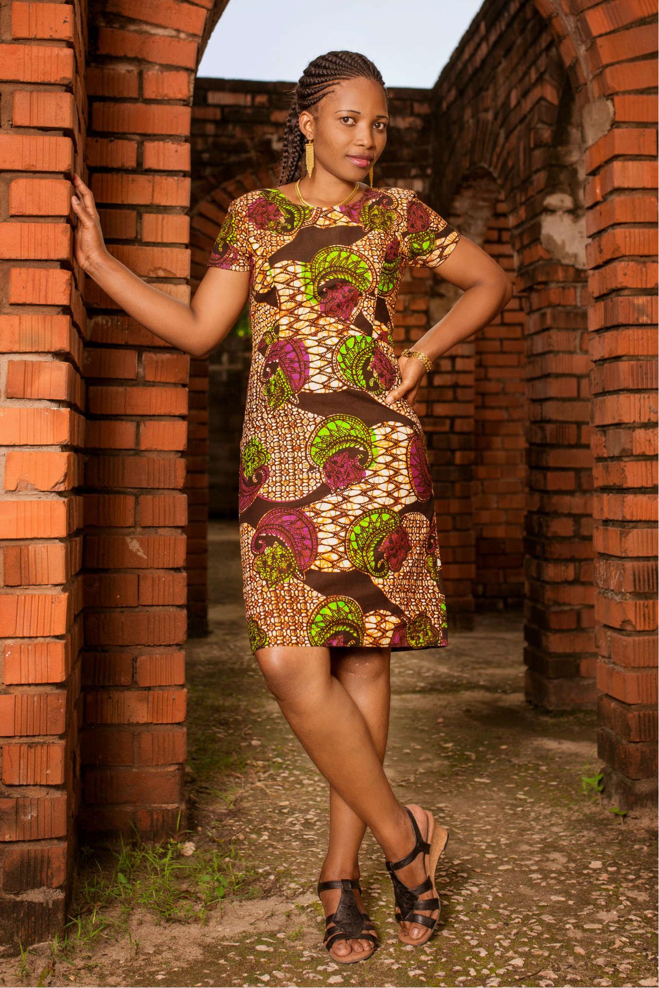 Women's Purple African Print Pencil Dress Model Wearing in Tanzania