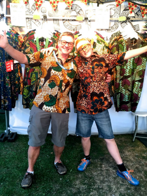 African style shirts modelled by Kitenge Store customers at Victorious Festival UK