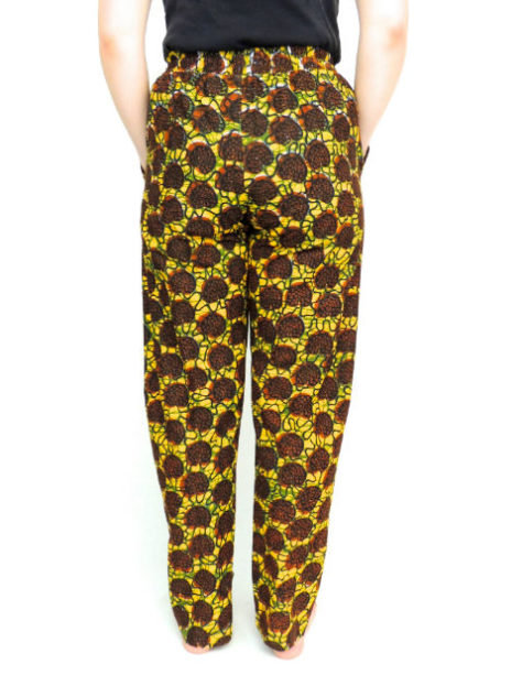 Brown African Print Trousers Back View