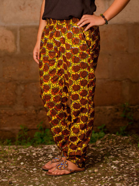 Brown African Print Trousers Model Wearing