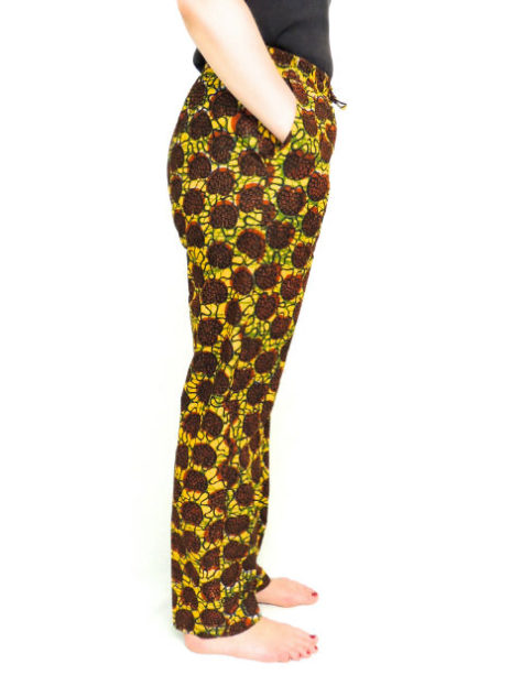 Brown African Print Trousers Side view