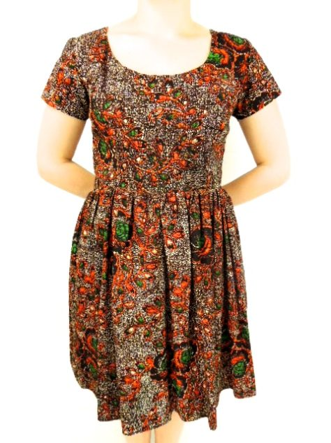 Red Womens African Print Flare Dress Front View