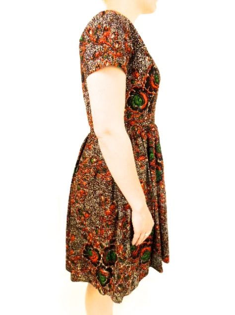 Red Womens African Print Flare Dress Side View