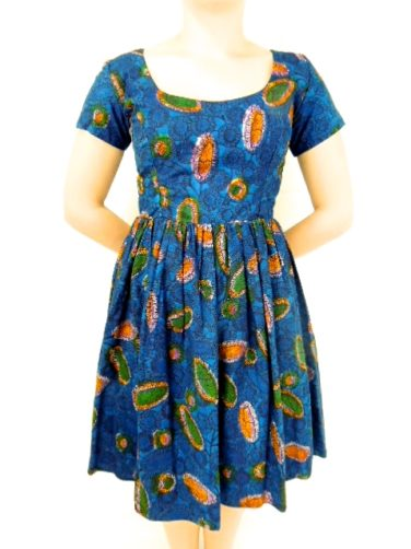 Blue Womens African Print Flare Dress Front View