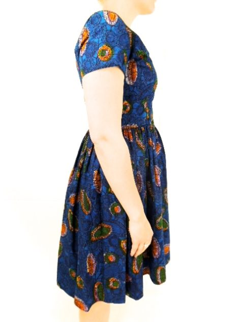Blue Womens African Print Flare Dress Side View