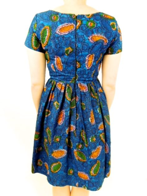 Blue Womens African Print Flare Dress Back View