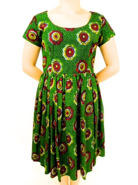 Green Womens African Print Flare Dress Front View