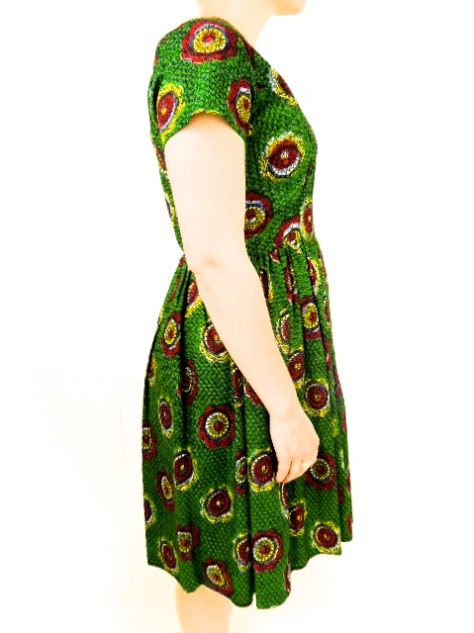 Green Womens African Print Flare Dress Side View