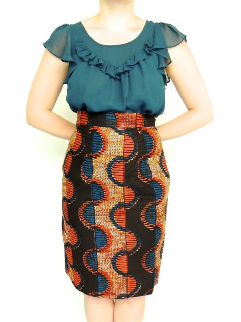 Red Womens African Print Pencil Skirt Front View