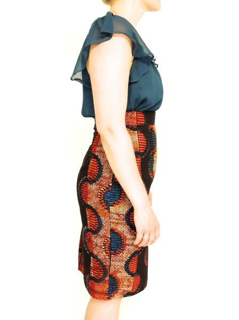Red Womens African Print Pencil Skirt Side View