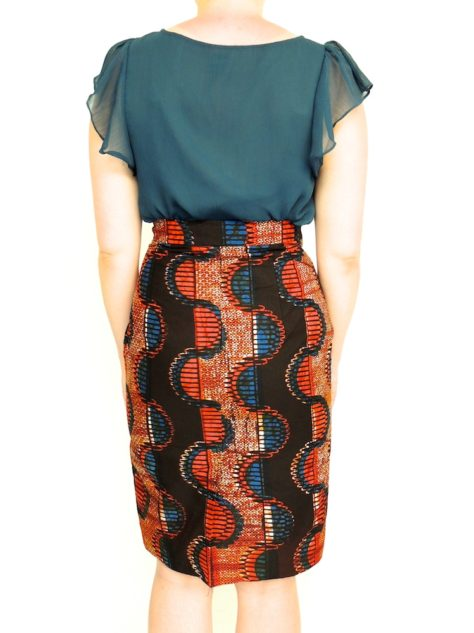 Red Womens African Print Pencil Skirt Back View