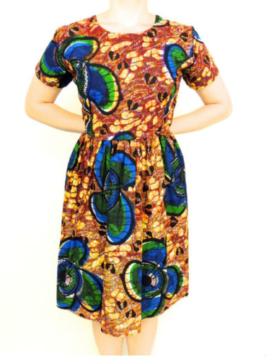 Yellow Womens African Print Flare Dress Front View