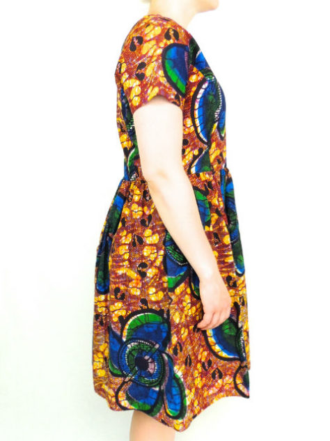 Yellow Womens African Print Flare Dress Side View