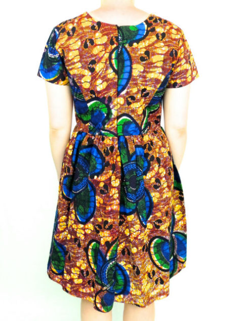 Yellow Womens African Print Flare Dress Back View