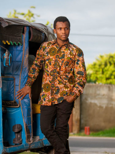 Green Floral Mens African Print Long Sleeve Shirt Model in Tanzania Wearing