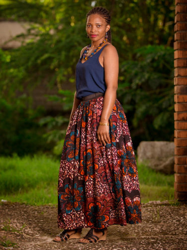 Red Womens African Print Maxi Skirt Model Wearing