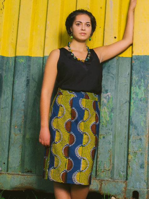 Yellow African print pencil skirt model wearing in Tanzania