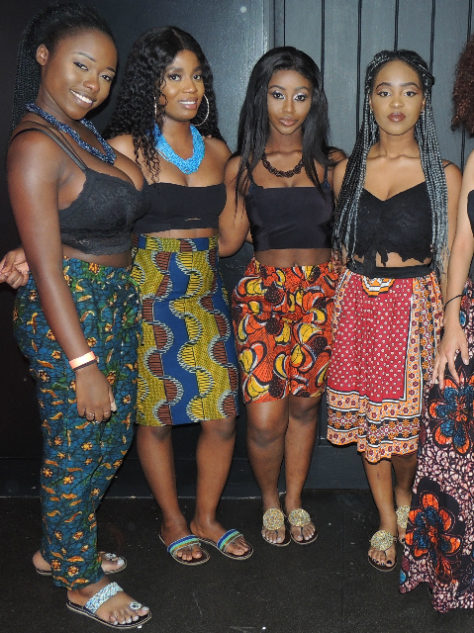 Kitenge African print trousers, shorts and skirts modelled by Warwick University's East African Society at their Afrofest event celebrating African culture