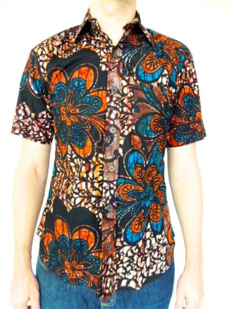 Men's red blue African print short sleeve shirt model wearing front view