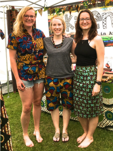 Unisex multicoloured African print shorts worn by Kitenge Store's Founder Sian at Africa Oye Festival in Liverpool UK