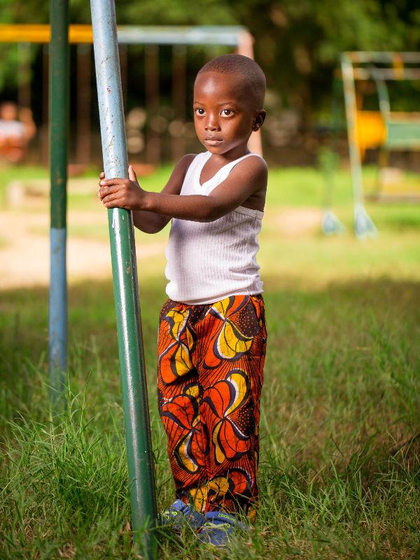 Red African Print Kids Trousers Boy Model Wearing
