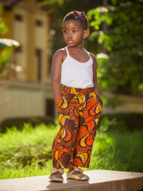 Red African Print Kids Trousers Pants Girl Model Wearing