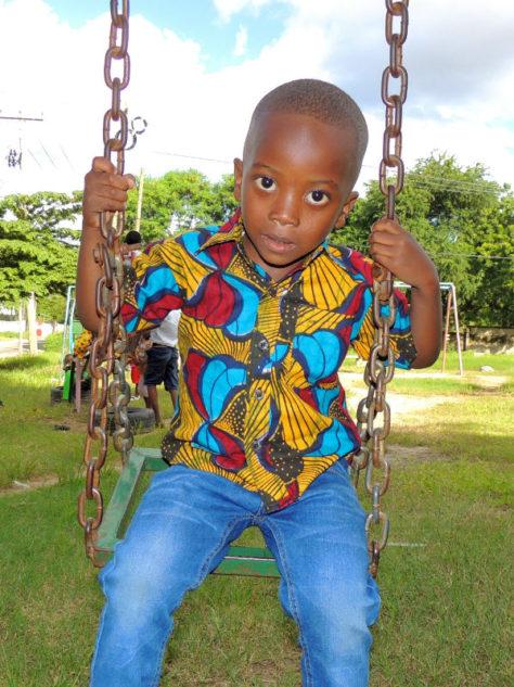 ellow Boy's African Print Short Sleeve Shirt Model Wearing