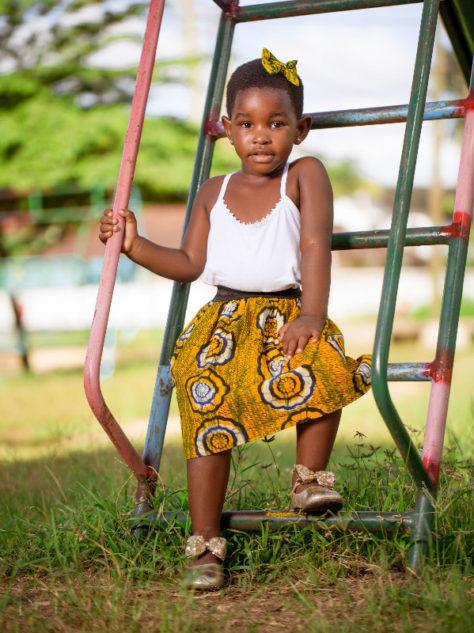 Yellow Girls African Print Flare Skirt Model Wearing