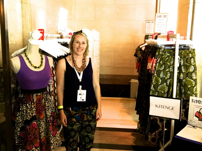 Kitenge founder Sian wearing African Print Trousers on our stall at Africa Fashion Week London 2017 inside Freemasons' Hall Covent Garden