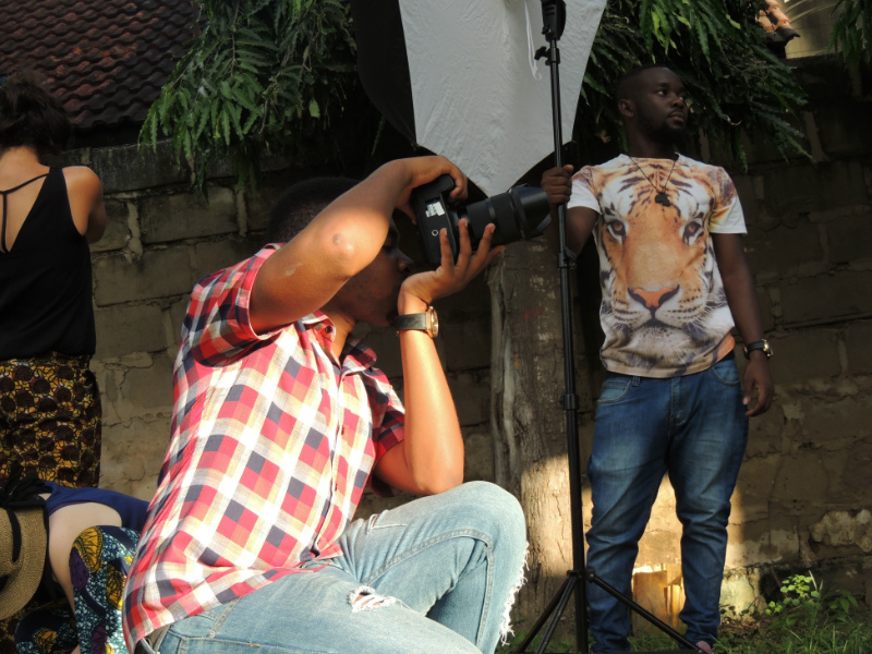 Our photgrapher called Daniel and his assistant at a recent photoshoot outside in Tanzania