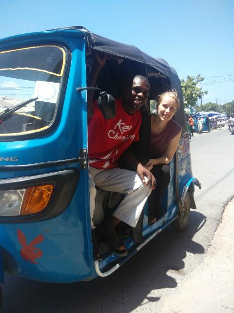 Sian and Oscar a bajaje tuk tuk driver in Tanzania