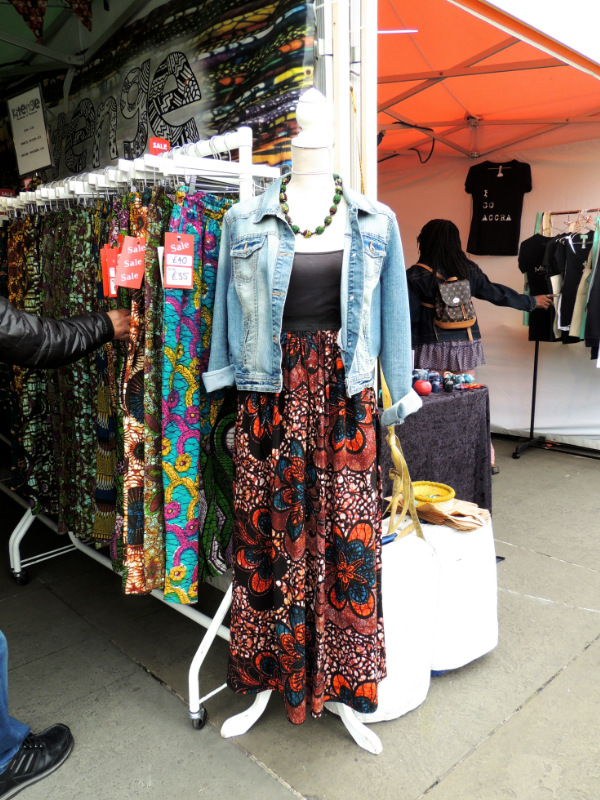 Kitenge Store women's red African print maxi skirt displayed on a mannequin outside our stall at Africa on The Square 2017