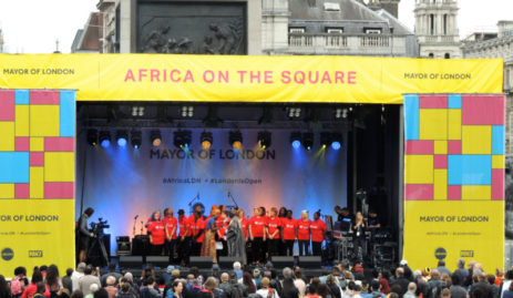 Main stage with gospel choir at African on The Square 2017 in Trafalgar Square London