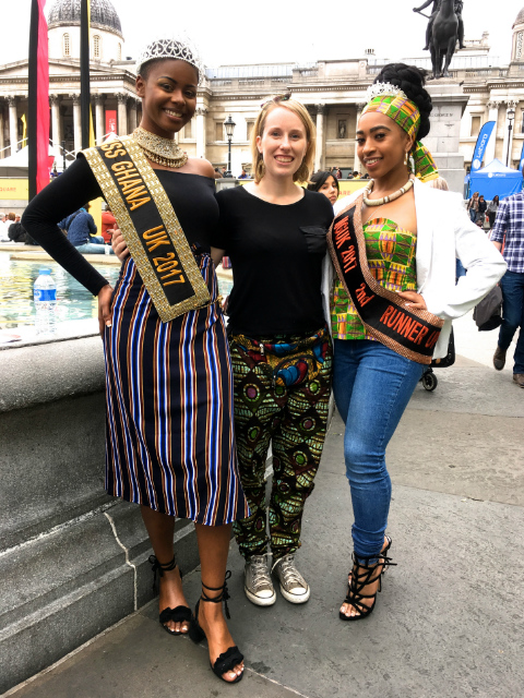 Sian with Miss Ghana UK 2017 and the runner up at Africa on The Square 2017 wearing Kitenge African print trousers